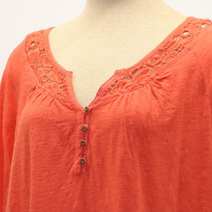 Natural Reflections Deep Orange Vneck Blouse 1X